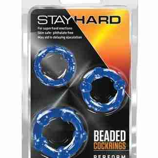 Blush Stay Hard Beaded Cock Rings 3 Pack - Blue