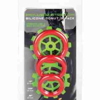 Ignite Power Stretch Silicone Donuts Cockrings - Pack of 3 Red