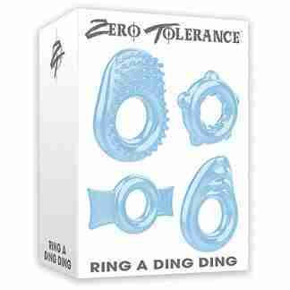 Zero Tolerance Ring a Ding Ding Set of 4 Cock Rings - Blue
