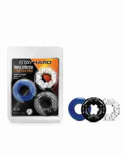 Stay Hard Triple Stretch Cock Rings - Pack of 3