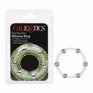 Steel Beaded Silicone Ring - X Large Clear