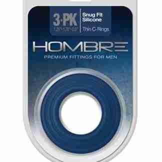 Hombre Snug Fit Silicone Thin C Rings - Navy Pack of 3