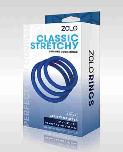 ZOLO Stretchy Silicone Cock Rings - Blue