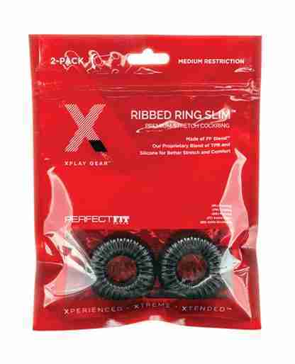Xplay Gear Mixed Pack Ribbed Ring and Ribbed Ring Slim - Black - Pack of 2