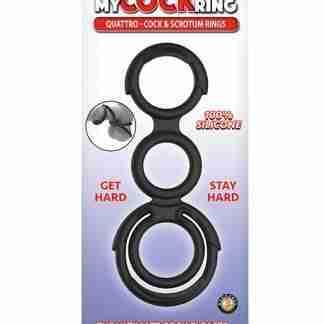 My Cock Ring Quattro Cock & Scrotum Rings - Black